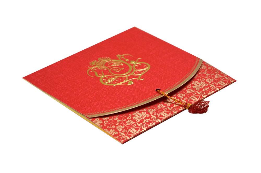 Budget Hindu Wedding Card Design RB 1459 RED