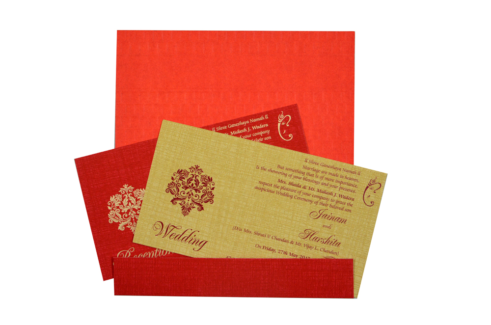 Budget Hindu Wedding Card Design RB 1463 RED
