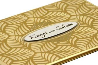 Leaf Theme Wedding Card RN 2089 GOLD