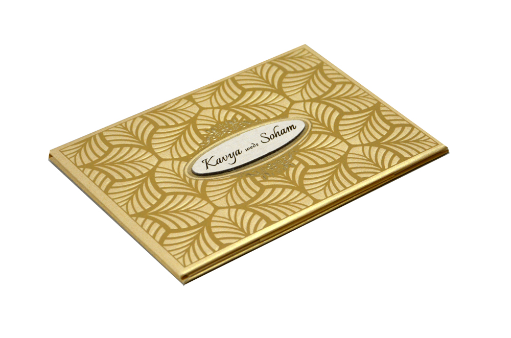 Leaf Theme Wedding Card RN 2089 GOLD