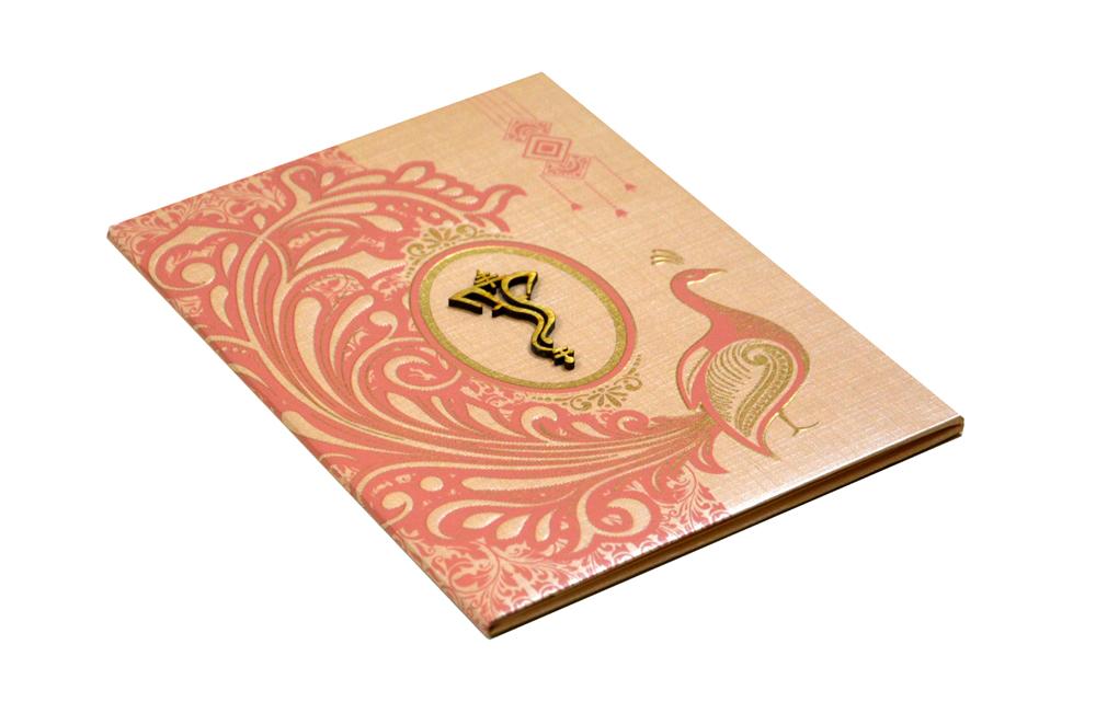 Peacock Theme Hindu Wedding Card RN 2094 PEACH