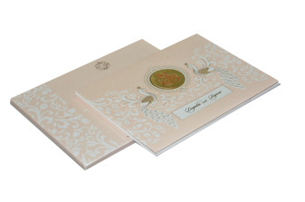 Peacock Theme Hindu Wedding Card RN 2097 PEACH