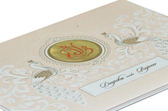 Peacock Theme Hindu Wedding Card RN 2097 PEACH
