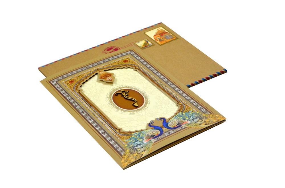 Peacock Theme Budget Wedding Card RN 2109
