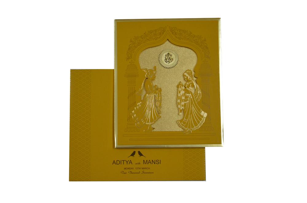 Bride Groom Theme Laser Cut Wedding Card RN 2125