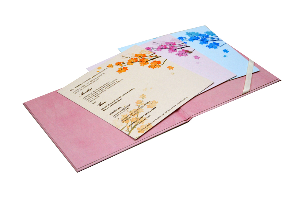 Pink Floral Theme Wedding Card RN 2130
