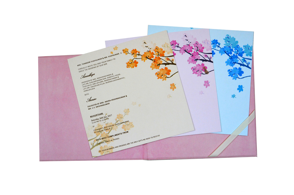 Pink Floral Theme Wedding Card RN 2130