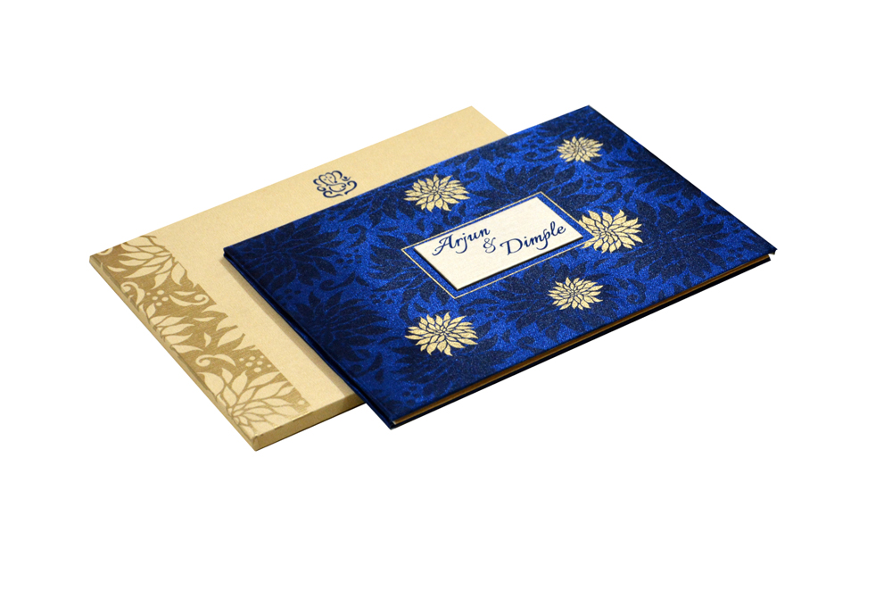 Floral Theme Satin Cloth Wedding Card RN 2182 BLUE