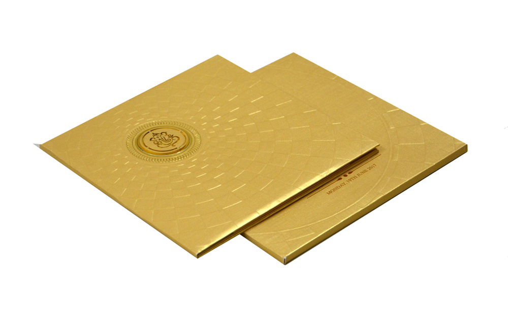 Golden Padded Wedding Card RR 113