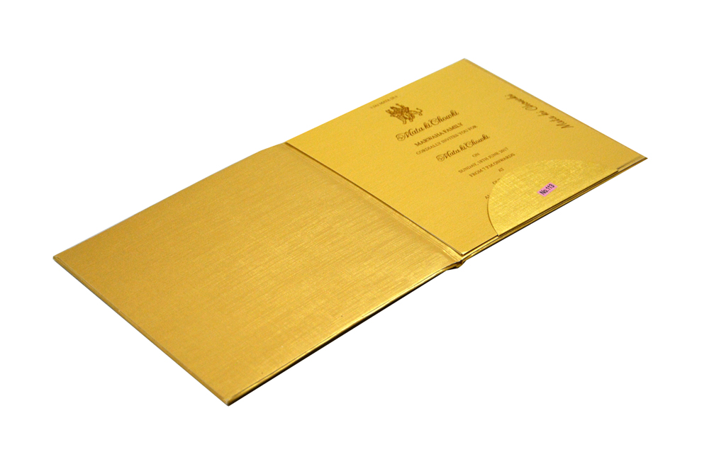 Golden Padded Wedding Card RR 113
