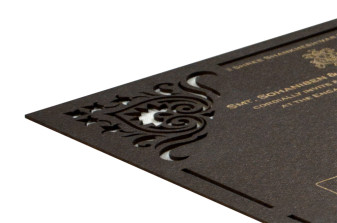 Brown Laser Cut Wooden Invitation RR 1352
