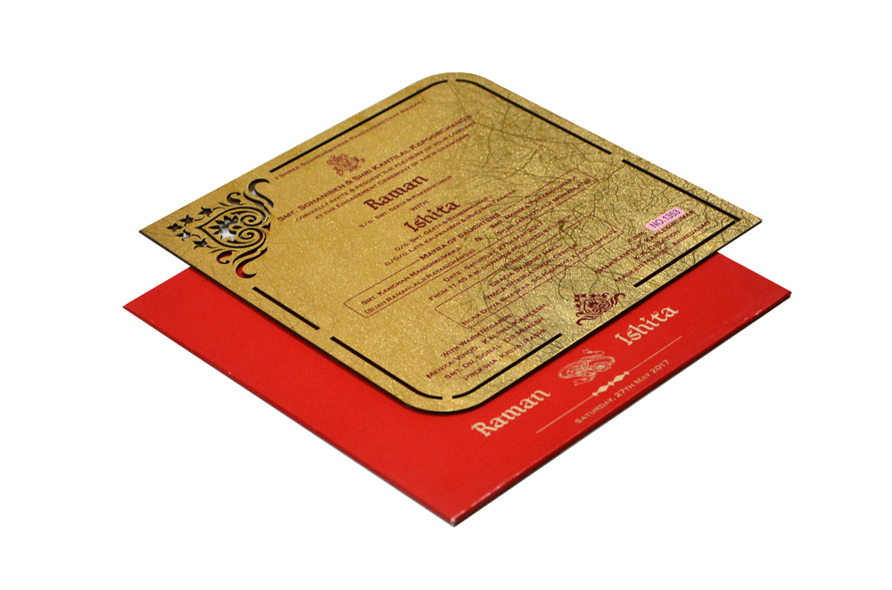 Red and Gold Laser Cut Invitation RR 1353
