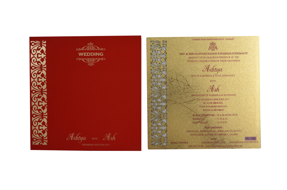 Red and Gold Laser Cut Invitation RR 1355