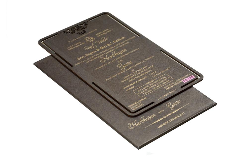 Brown Laser Cut Wooden Invitation RR 1360