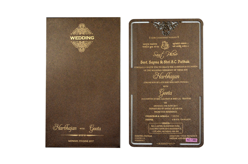 Brown Laser Cut Wooden Invitation RR 1360