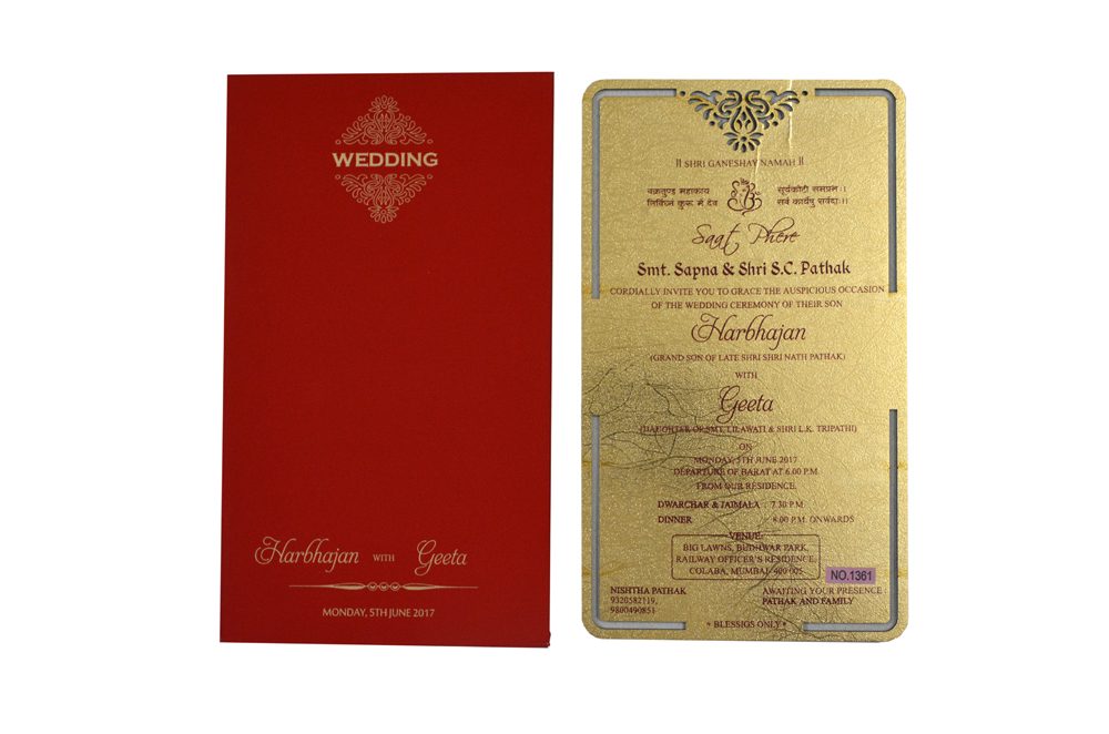 Red and Gold Laser Cut Invitation RR 1361