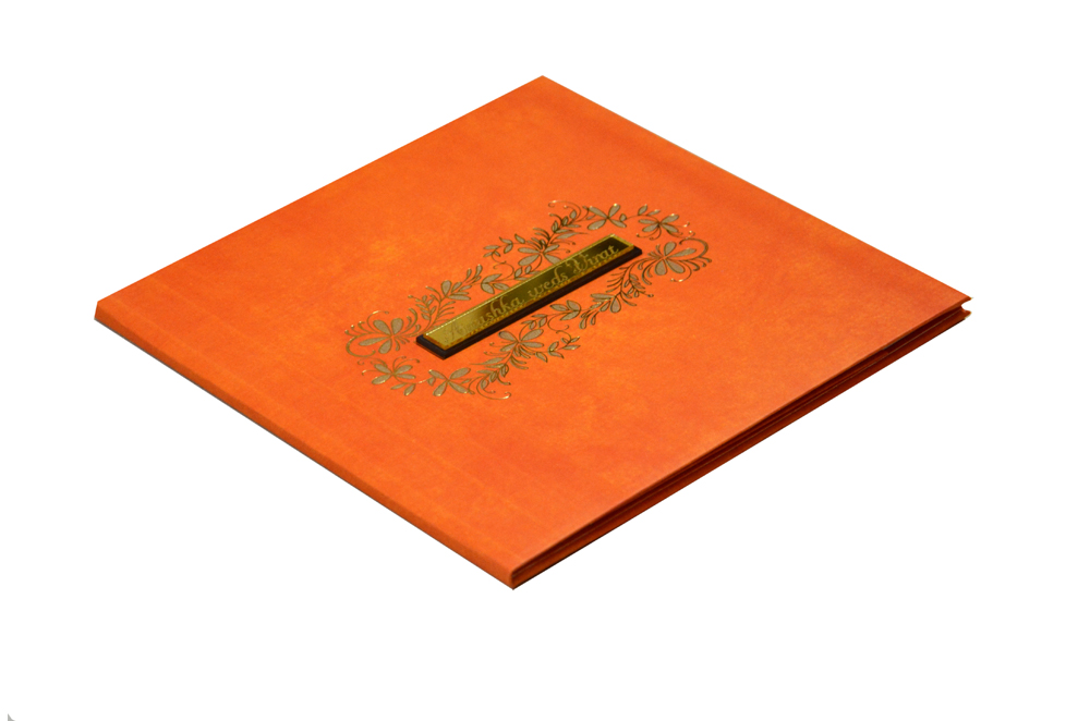 Orange Padded Wedding Card RR 162