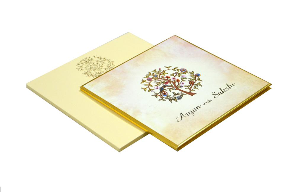 Tree Theme Padded Wedding Card RR 165