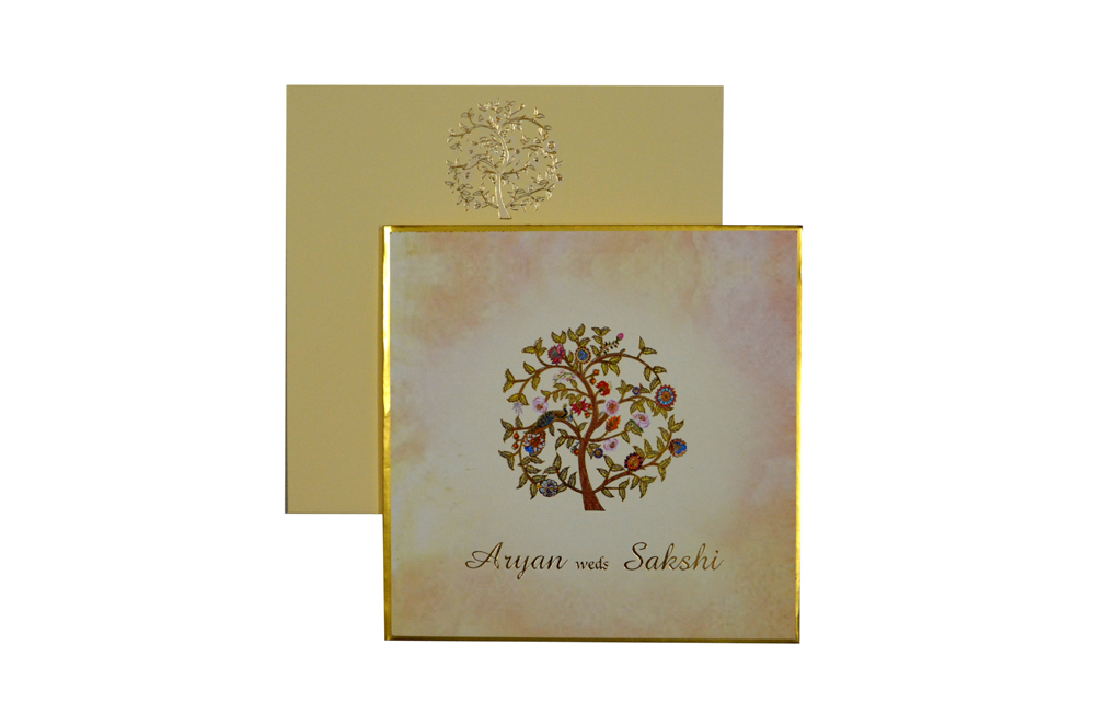 Tree Theme Padded Wedding Card RR 165