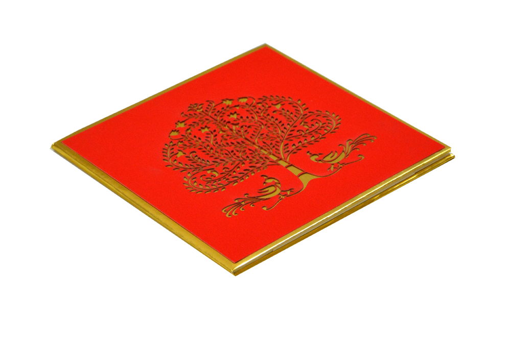 Tree and Peacock Theme Red Padded Wedding Card RR 600