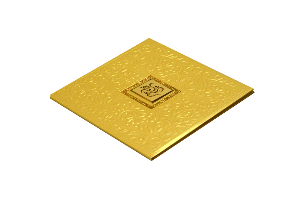 Golden Padded Hindu Wedding Card RR 923