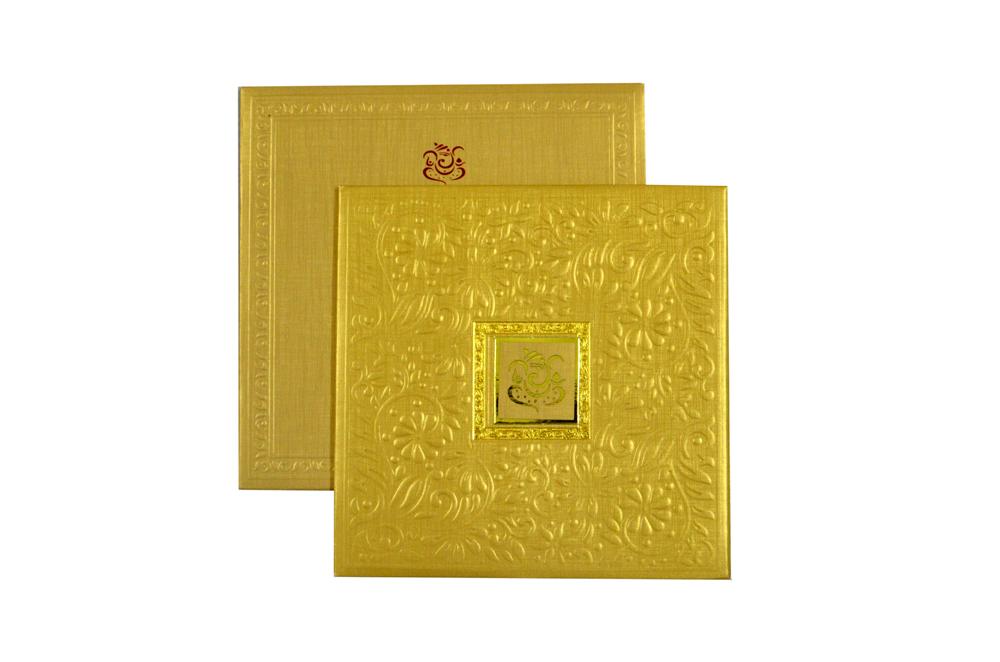 Golden Padded Hindu Wedding Card RR 923
