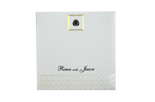 White Designer Wedding Card GC 1004