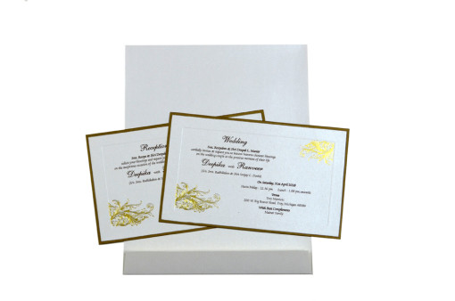 Simple and Elegant White Wedding Card Design GC 1005