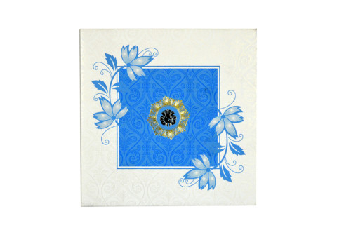 Floral Theme Turqoiuse Wedding Card GC 1009