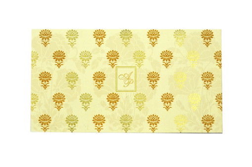 Cream Designer Wedding Card GC 1026