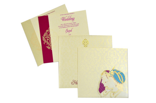 Bride Groom Theme Designer Wedding Card GC 1030