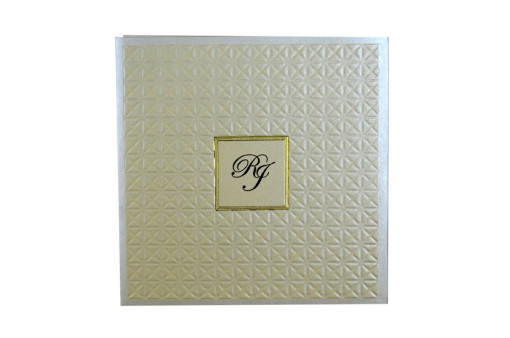 Cream Designer Wedding Card GC 1037