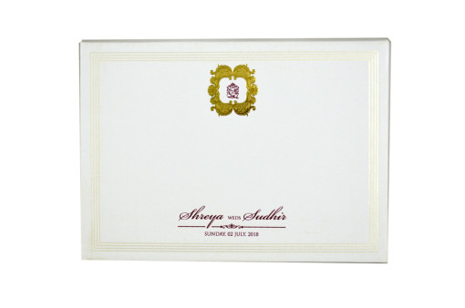 White Padded Wedding Card GC 1058