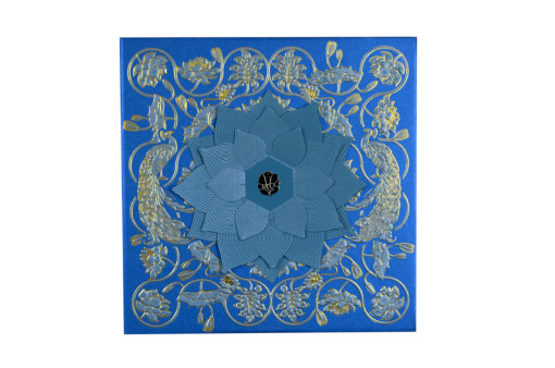 Blue Flower Cut Wedding Card Design GC 1064