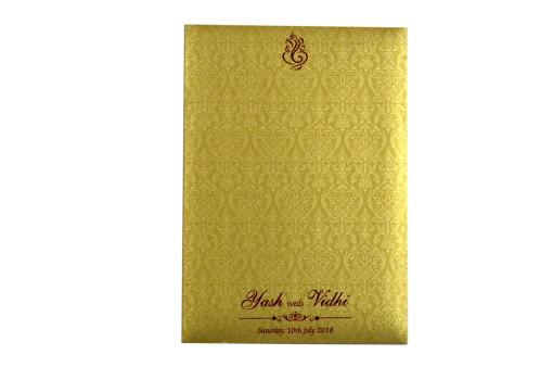 Red Satin Cloth Hindu Wedding Card Design GC 1066