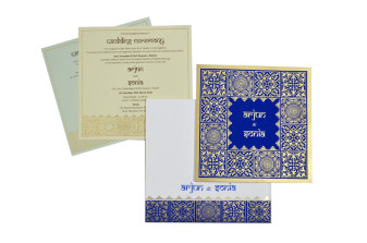 Blue Designer Wedding Card GC 2002