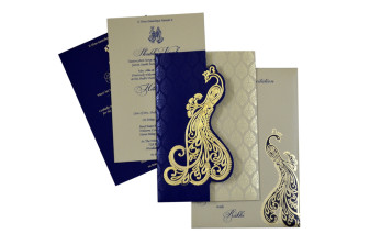 Peacock Theme Budget Wedding Card GC 2005