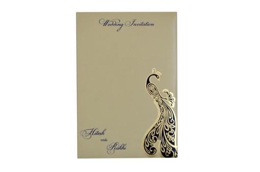 Peacock Theme Budget Wedding Card GC 2005