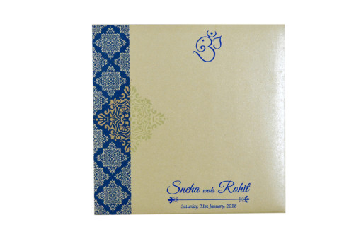 Blue Designer Budget Wedding Card GC 2008