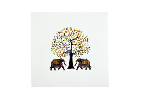 Tree and Elephant Theme Designer Wedding Card GC 2019