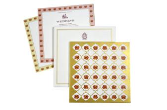 Floral Theme Padded Wedding Card GC 2054