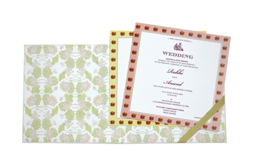 Floral Theme Padded Wedding Card GC 2054