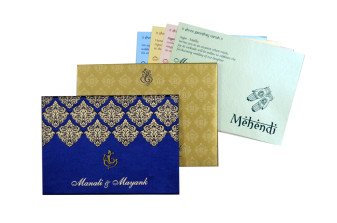 Blue Satin Cloth Wedding Card GC 2072