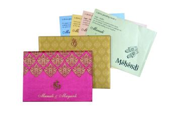 Pink Satin Cloth Wedding Card GC 2073