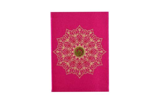 Pink Satin Cloth Hindu Wedding Card GC 2076