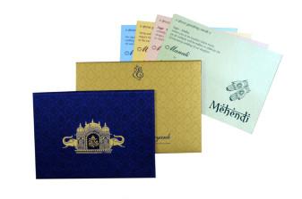 Temple and Elephant Theme Maroon Satin Wedding Card GC 2077