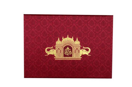 Temple and Elephant Theme Blue Satin Wedding Card GC 2078