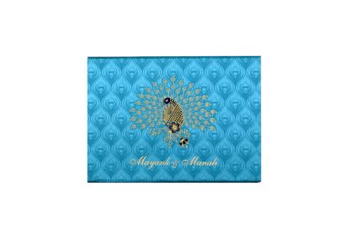 Satin Cloth Peacock Theme Wedding Card Design GC 2079