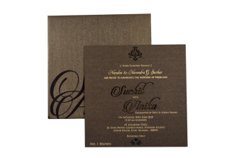 Laser Cut Engagement Invitation LM 1 Brown