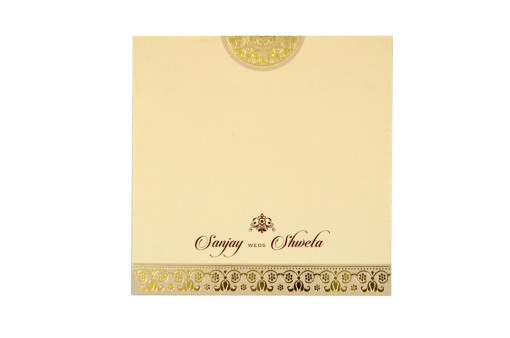 Padded Hindu Wedding Card LM 103 Biscuit